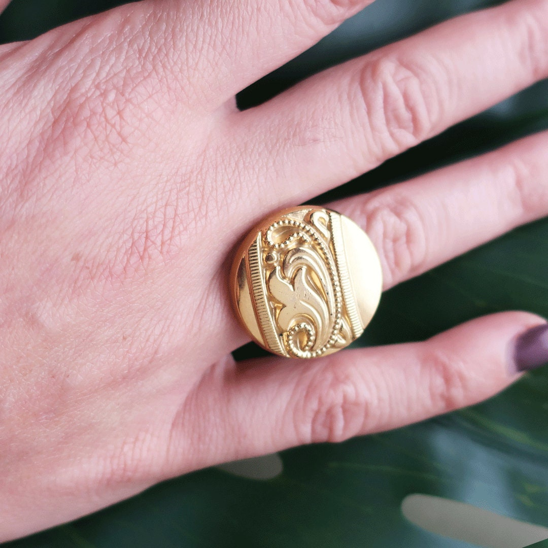 Vintage Button Ring Handmade Ring Round Ring Gold Ring