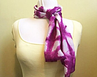 Hand-Dyed Habotai Silk Shibori Scarf.  One-of-a-Kind Silk Scarf.  Violet Purple Habotai Scarf.  Long Scarf. Mother's Day Gift