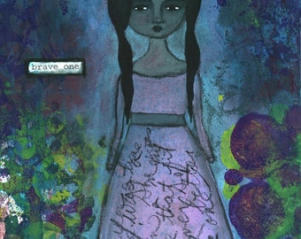 """Giclee Print - 5"""" x 7"""" Brave Girl, Dark Inspirational Mixed Media Decor, Pink Turquoise Purple Wall Art, Whimsical Word Art - """"Brave One"""""""