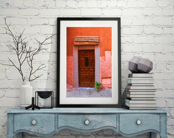 Morocco Door Marrakech Medina INSTANT DOWNLOAD office art medina landscape photo flower pot picture Moroccan photography wall art home decor