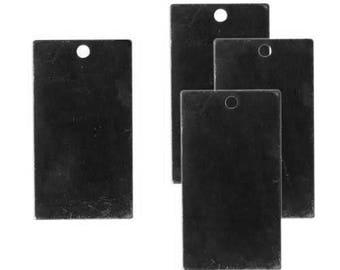 DESTASH SALE: Vintaj Black Brass 22mm Rectangle Altered Blank - set of 46
