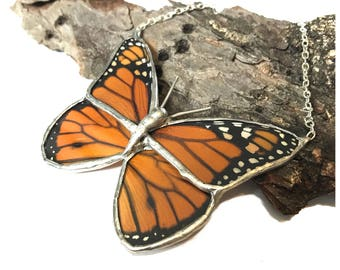 Real Monarch Butterfly Wing Necklace Preserved in Glass