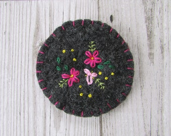 Upcycled Hand Embroidered Felted Brooch, Pink Floral Embroidered Brooch, Felted Embroidered Pin