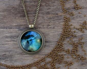 Universe pendant, Galaxy necklace, Blue green space necklace, Universe jewelry, Nebula necklace, Cosmos Jewelry, Glass galaxy pendant UJ 054