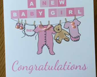 New Baby Congratulations Washing Line Illustration Card - New Parents - Boy