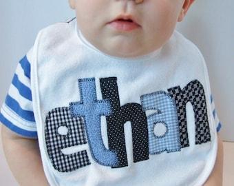 Personalized Baby Bib Appliqued//blue and black//Baby Boy Bib//Baby Shower Gift//Baby Name Announcement//Drool Bib//baby boy gift//newborn