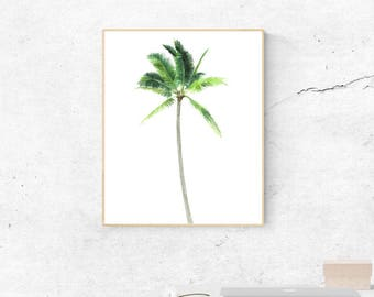 Palm tree print, printable palm print, palm tree wall art, watercolor print, watercolor palm print, tropical wall art, beach print, summer