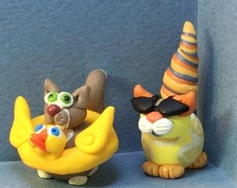 Calendar Cats, June - Ducky Inner Tube Cat or COOL Sunglasses cat