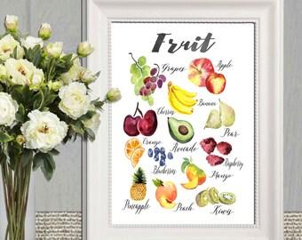 Healty eating print Kitchen decor printable Large Fruit poster print Fruit wall art Watercolor fruit art Fruit sign 5x7 8x10 16x20 Download
