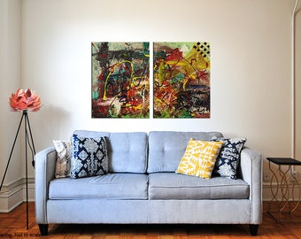 """Two Piece Abstract Acrylic Painting   Modern Art   Paint Splatters   Canvas Board   """"Chaos"""" - 36x24"""" (Two 18x24"""" pieces)"""