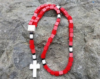First Communion Gift Rosary Made with Lego® Bricks - Red, White and Black Catholic Rosary