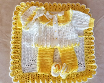 Handmade Baby Shower, Christening Baby Crochet Blanket, Cardigan, Overall, Booties, Hat set. Perfect Shower Gift . (6-9 month)