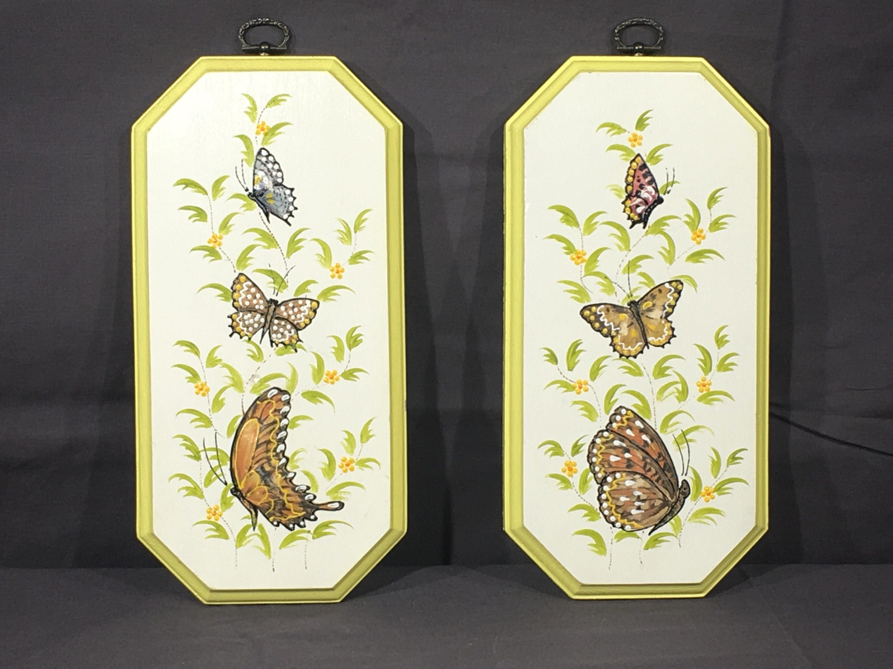 Vintage Butterfly Paintings (2), Wooden Wall Hanging Decor, White ...