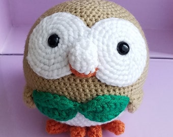 Rowlet Amigurumi Pokemon Plushie- Ready to Ship