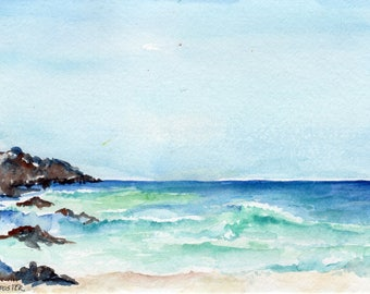 Aruba original watercolor painting, ocean art, seascape, 5 x 7, Caribbean artwork, beach artwork, SharonFosterArt