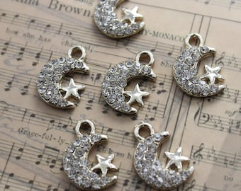 Bulk 40 Moon and Stars Charms Moon and Stars Pendants w/ Crystal Glass Antiqued Gold Tone  13 x 18 mm
