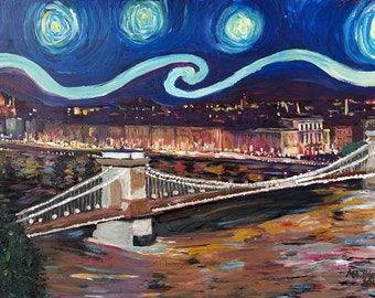 Starry Night in Budapest Hungary with Danube and Parliament - Van Gogh Inspirations - Limited Edition Fine Art Print