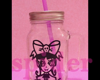 Spiderette  Clear Glass Mason Jar Cup with Straw Drinking Jars Tumbler