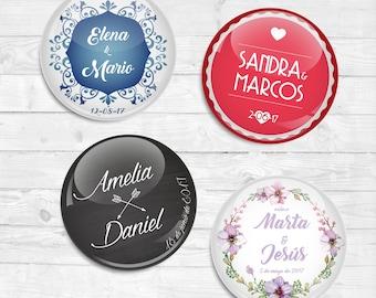 Chapas personalizadas para Boda: NOMBRES / Custom pinback buttons for Boda NAMES