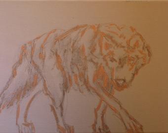 Wolf Painting - Acrylic Wild Animal Modern Art Original