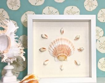 Beach Decor - Framed Natural Seahells and Starfish - coastal nautical embellished sea shells star fish sealife