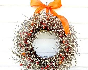 Fall Wreath-Fall Door Wreaths-Halloween Wreath-Thanksgiving Wreath-ORANGE Door Wreath-Autumn Wreath-Fall Home Decor-Choose Made Gifts