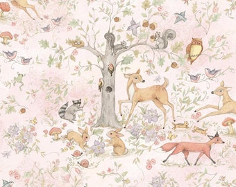 Susan Winget Woodland Buddies Cotton Nursery Fabric by the yard and by the half yard