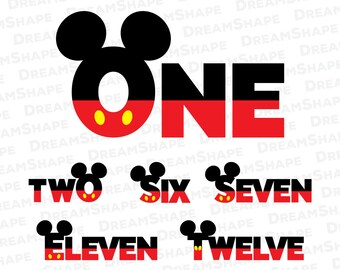 One to Twelve Birthday SVG, First Birthday SVG File, One Mouse Birthday, Two Mouse Ears Birthday, 1 to 12 Birthday Svg File Instant Download