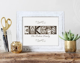 Gold Anniversary, Custom Wedding Gift, Family Name Sign, Architectural Letter Photos, Sepia Name Print, Modern Gold Letters, 11x14 Unframed