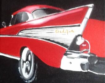 Painting Chevrolet Bel Air / Car art / Wall art