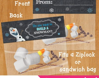 Do you want to build a snowman / From Frozen Bag Topper Olaf Party Favor Toppers Birthday Party Printable / DIY / INSTANT DOWNLOAD