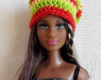 Colorful Barbie surf hat, yellow, orange and green slouchy beanie