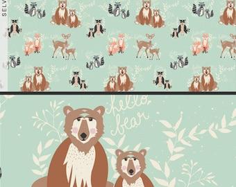 Fabric Hello, Bear! Oh, Hello Meadow, in Mint Bonnie Christine Art Gallery Bear Deer Fox Raccoon Animals Woodland