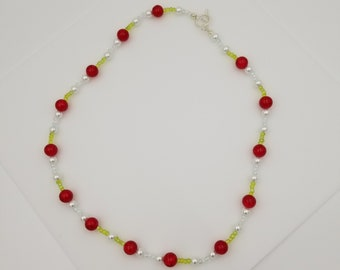 """Cherry Inspired 24"""" Beaded Glass Necklace"""
