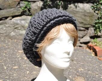 Black and Gray Slouchy Hat for Women - Crochet Hat - Rasta Hat - Gray Hat - Crochet Beret