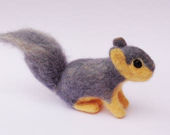 Eastern Fox Squirrel - Needle Felted Wool Animal - North American Tree Squirrel - Gray and White Squirrel - United States Forest Animal