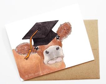 Graduation Card - Cow, Grad Card, College Graduation, High School Grad, Congrats Grad, Congrats Card, Cute Animal Card, Cow Card