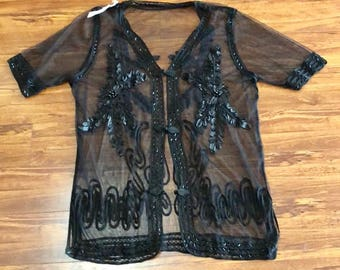 Vintage Sheer Mesh Jacket Topper Beaded Embroidered Ornamented Wedding Party