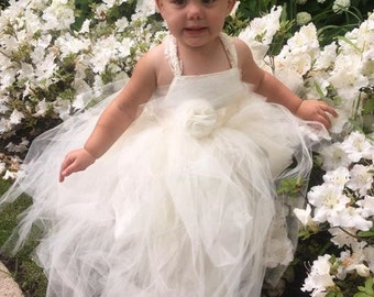 Lace & Tulle Tutu Floor Length Flower Girl Dress - A Toddler or Child Dress, Pageant, Baptism  - The Payton-Marie Dress