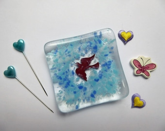 Earring ring dish blue bird fused glass birthday christmas nature lover childs teachers gift Mothers Day stocking filler wedding favour