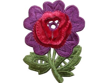 ID 6439 Soft Red Purple Flower Patch Fuzzy Garden Embroidered Iron On Applique