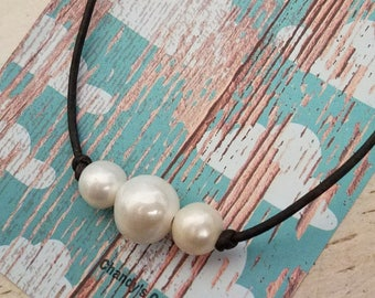 Freshwater Pearl, Leather, Choker, Pearl Necklace, Single, Double, Triple, Three, Two, One, Knotted, Timeless, Jewelry, Black, Brown, Silver