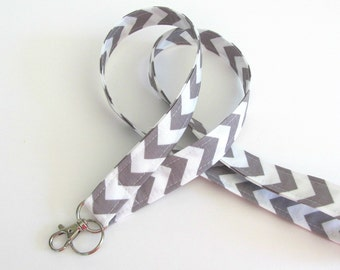 Lanyard ID Badge Holder Grey White Chevron Key Lanyard - Fabric Lanyard Choose Your Color, Back to school Teacher Lanyard, Nurse Lanyard