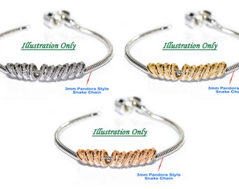 925 Sterling Silver Ring Spacer, Rhodium or Gold Plated for European Story, Pandora Bead, etc. Charm Chain Cable Bracelets - Choose QTY