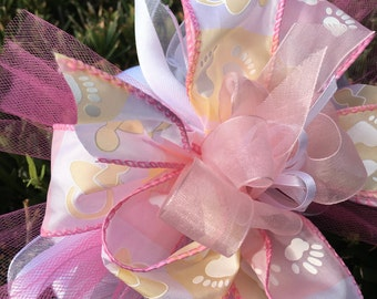 Baby bow, baby decor, girl bow, girl decor, baby shower, baby decor, newborn bow, newborn decor, newborn gift, gift bow, package bow,bag bow