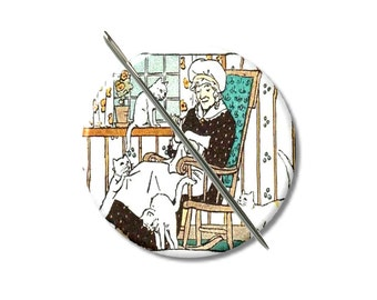 Sewing with Cats needle minder magnet cross stitching sewing tool sewing notion wife gift under 10 stocking stuffer cat lovers