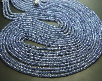 Full 14 Inches Strand,Natural Tanzanite Micro Faceted Rondelles Blue 2.75-3.25mm