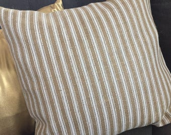 White Striped Burlap Envelope Pillow Cover/ Holiday Pillow Cover/ Christmas Pillow Cover/ Burlap Pillow Cover/ Pillow Cover
