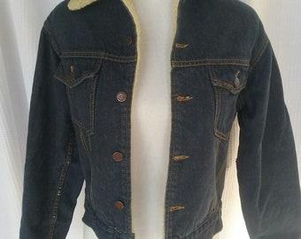 Vintage Sears Roebucks Sherpa Lined Denim Jean Jacket Size 36-R Mens XS Womens S