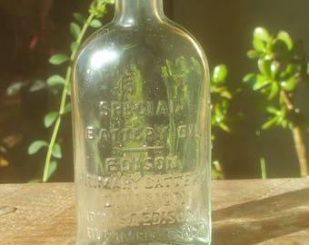 Aqua tinted primary batter oil edison bottle